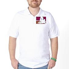 White Poodle Coffee Dog T-Shirt