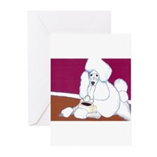 White Poodle Coffee Dog Greeting Cards (Package of