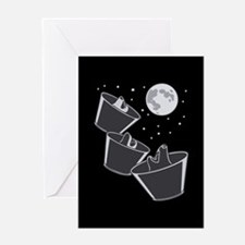 3 Pet Wolves Moon Greeting Card