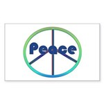 Blue / Green Peace Sign Sticker (Rectangle 50 pk)