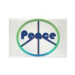 Blue / Green Peace Sign Rectangle Magnet (100 pack