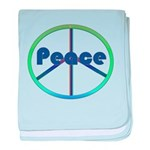Blue / Green Peace Sign baby blanket