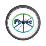 Blue / Green Peace Sign Wall Clock