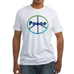 Blue / Green Peace Sign Fitted T-Shirt