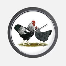 Plymouth Rock Penciled Chickens Wall Clock