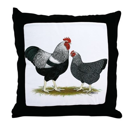 Plymouth Rock Penciled Chickens Throw Pillow