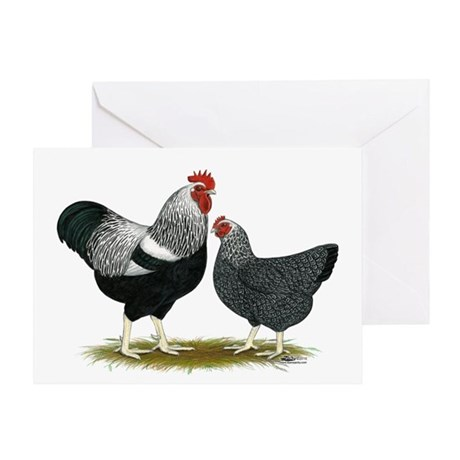 Plymouth Rock Penciled Chickens Greeting Card