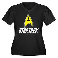 Star Trek Command Women's Plus Size V-Neck Dark T-