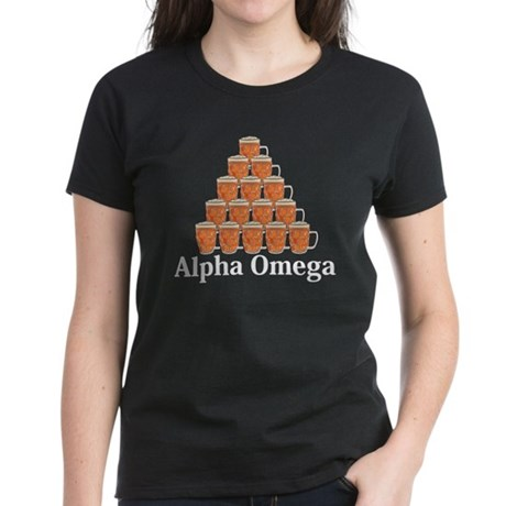 Apha Omega Logo 7 Women's Dark T-Shirt Design Fron