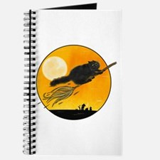 Halloween black witch cat on broom Journal
