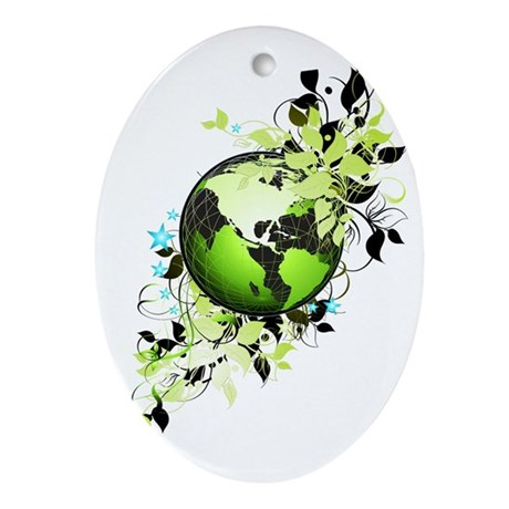 Live Green Ornament (Oval)