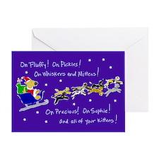 Doggy Claus & Kitty Reindeer Card