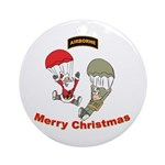 Santa & Soldier Airborne Ornament (Round)
