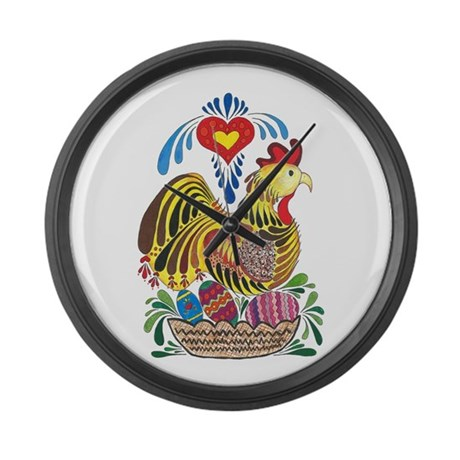 Chicken in Nest with Eggs Large Wall Clock