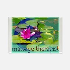 Massage Therapist / Waterlily Rectangle Magnet