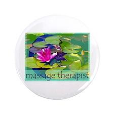 "Massage Therapist / Waterlily 3.5"" Button"