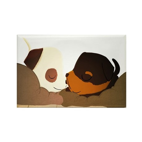 Sleepy Pups Rectangle Magnet (10 pack)