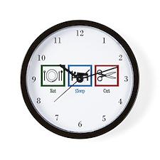 Eat Sleep Cut Wall Clock