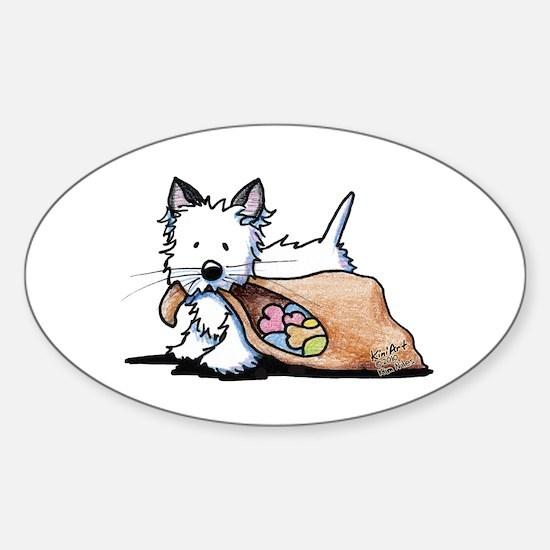 Westie Dog Halloween Cat Sticker (Oval 10 pk)