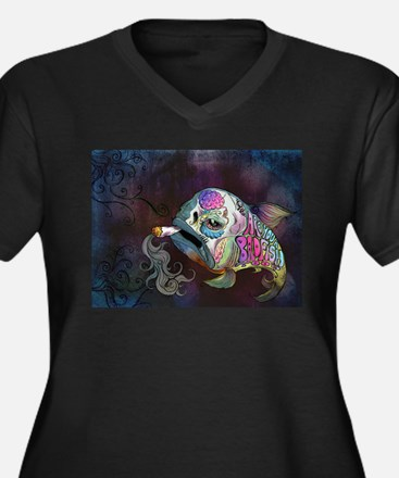 Unique Smoke Women's Plus Size V-Neck Dark T-Shirt