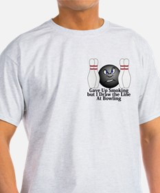 Gave Up Smoking - I Draw The Line At Bowling Logo