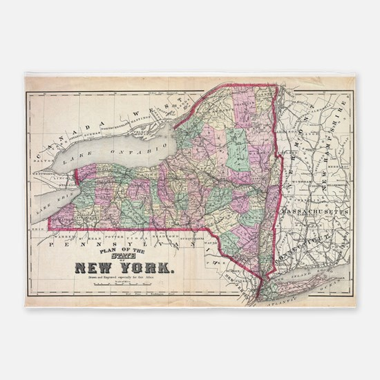 Vintage Map of New York (1873) 5'x7'Area Rug