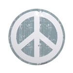 Urban Peace Sign - faded blue Ornament (Round)