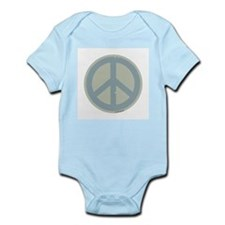 Neutral Blue Peace Sign Infant Creeper