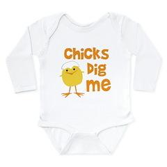 Chicks Dig Me Long Sleeve Infant Bodysuit