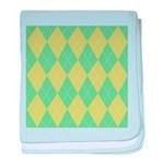 Green & Yellow Argyle Infant Blanket