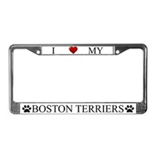 White I Love My Boston Terriers Frame