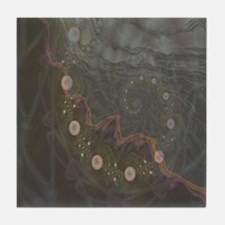 Midnight Bubbles Fractal Tile Coaster