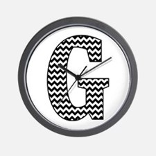 Black and White Chevron Letter G Monogram Wall Clo