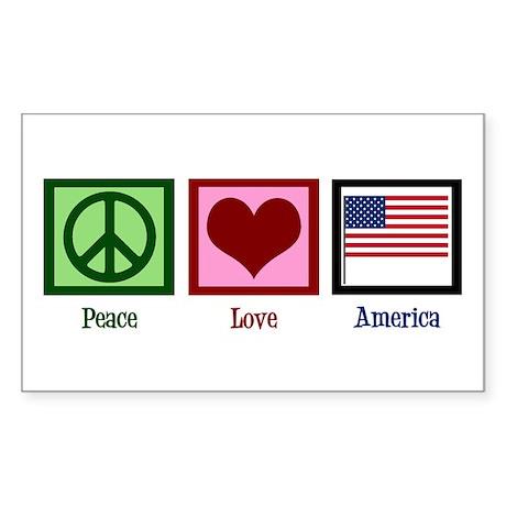 Peace Love America Sticker (Rectangle)