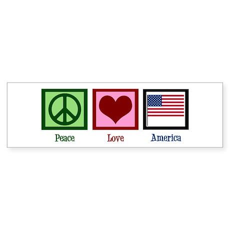 Peace Love America Sticker (Bumper)