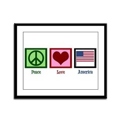 Peace Love America Framed Panel Print