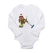 Sock Monkey Curling Long Sleeve Infant Bodysuit