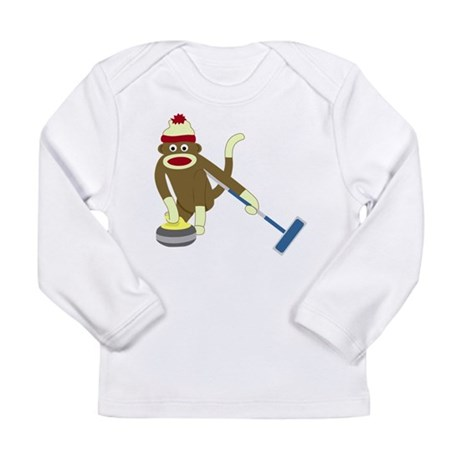 Sock Monkey Curling Long Sleeve Infant T-Shirt