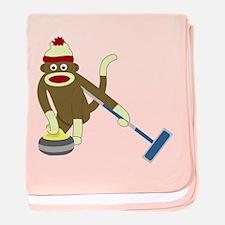 Sock Monkey Olympic Curling Infant Blanket