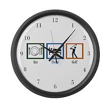 Eat Sleep Golf Large Wall Clock