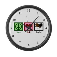 Peace Love Beagles Large Wall Clock