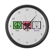 Peace Love Bunnies Large Wall Clock