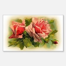 Pink Roses Rectangle Decal
