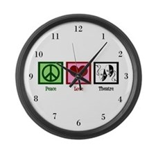Peace Love Theatre Large Wall Clock