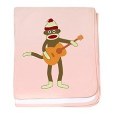 Sock Monkey Acoustic Guitar Infant Blanket