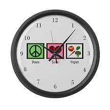 Peace Love Vegan Large Wall Clock