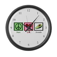 Peace Love Avocado Large Wall Clock