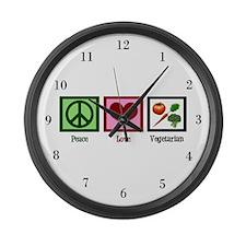 Peace Love Vegetarian Large Wall Clock