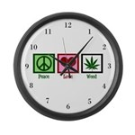 Peace Love Weed Large Wall Clock