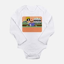 Sock Monkey Coffee Shop Lng Sleeve Infant Bodysuit